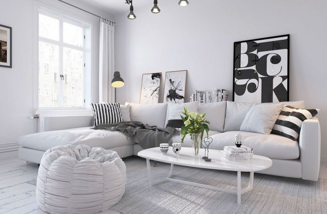 Cozy white Scandinavian living room.
