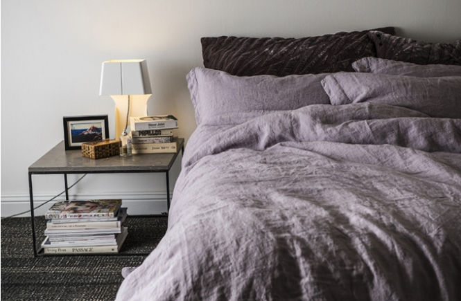 Purple Milk linen sheets and pillow cases by Dirty Linen from Sweden.