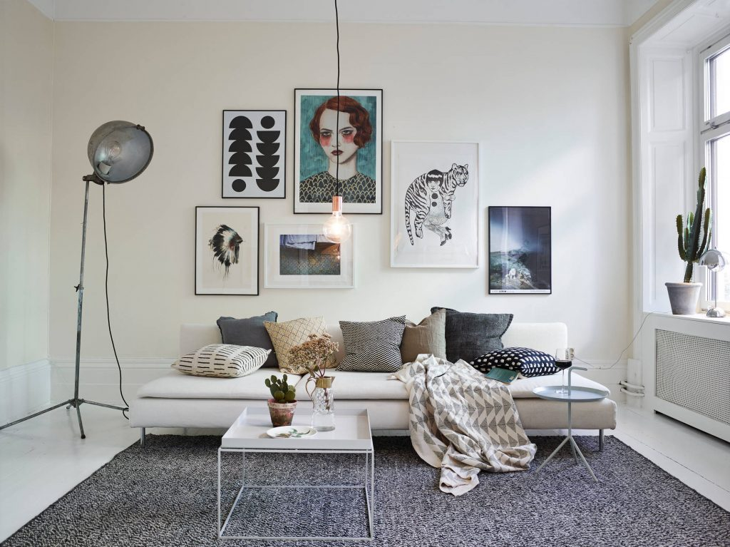 Large prints in a Scandinavian gallery wall