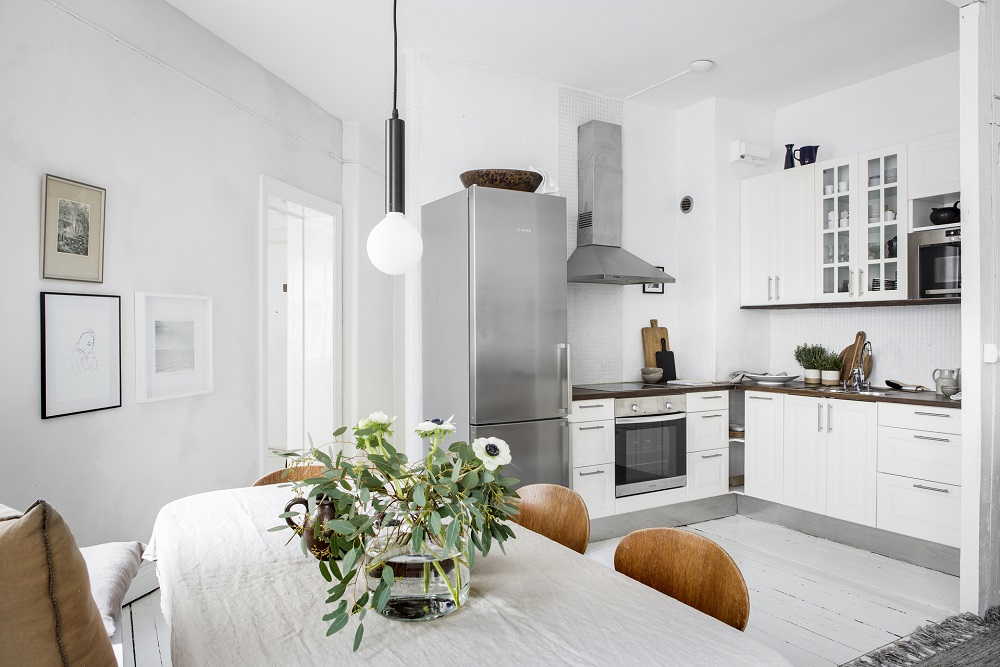 Scandinavian dining room and kitchen