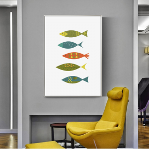Multicolored retro Scandinavian fish swimming along