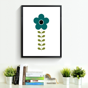 Mid-century modern blue Swedish folk art flower