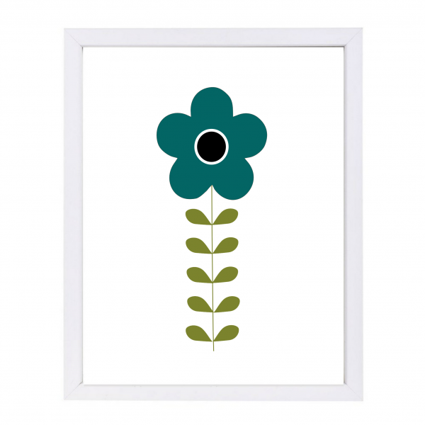 Mid-century modern Swedish folk flower in blue